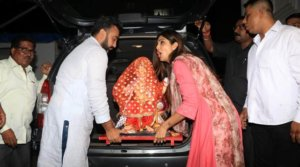 Shilpa Shetty Welcomes Ganpati Bappa at her Residence