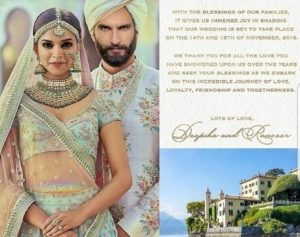 Deepika & Ranveer have shared their Wedding Announcement