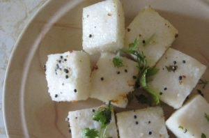 Navaratri Dhokla Recipe made from fast rice, making it very easy